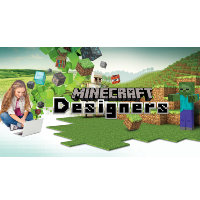 girl on a laptop with minecraft in the background