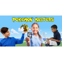 a boy holding up a pokemon character, girl holding a pokemon card, and another boy on a laptop