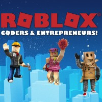 words roblox coders & entrepreneurs! with three different characters